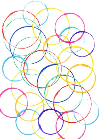 Colored circles made with paint on a white background photo