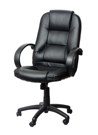 imitation leather: The office chair from black imitation leather  Isolated