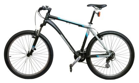 handle bars: Bicicleta de monta�a bicicleta aislado sobre fondo blanco Foto de archivo