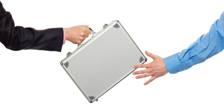 Transfer the silver metal case from hand to hand  Isolated on white photo