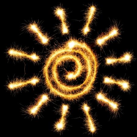 sparkler: Sun sparkler on black background