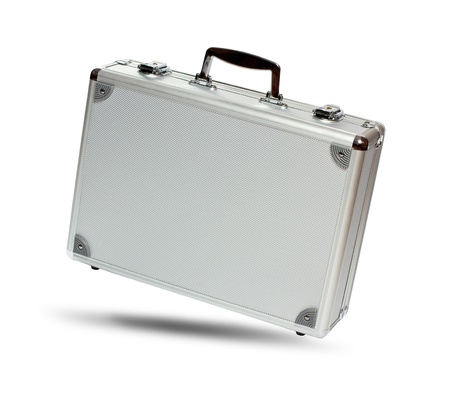 Silver metal briefcase with shadow isolated on white background photo