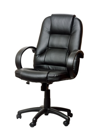 The office chair from black imitation leather. Isolated photo