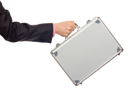 Silver metal briefcase in hand  Isolated on white Stock Photo - 17643226