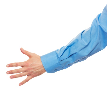 Helpful male hand on white Stock Photo - 17643215