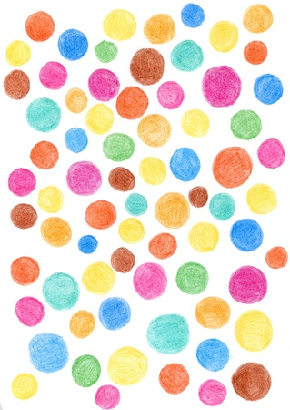 Colorful circles drawn in pencil on a white background photo