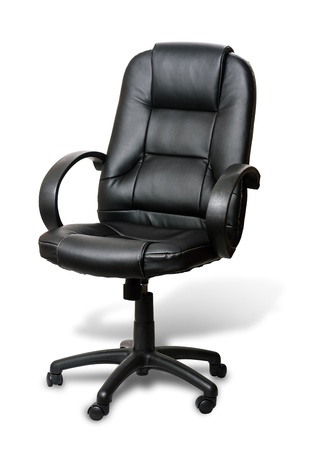 imitation leather: The office chair from black imitation leather with shadow on white