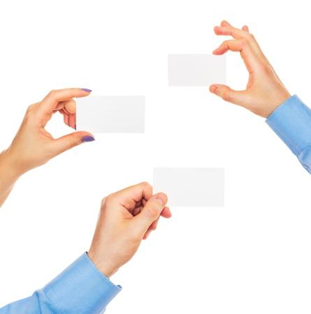 Cartes de visite en mains sur fond blanc Banque d'images