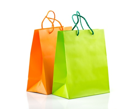 Two paper Shopping bags with reflection on white photo
