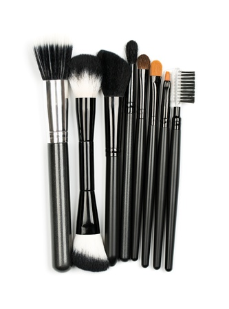 defining: Professional makeup brush set on white background