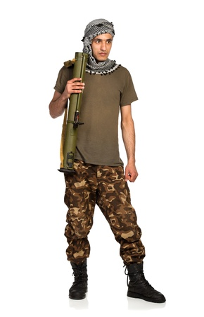 keffiyeh: Terrorist Arab nationality in camouflage suit and keffiyeh with launcher on white background with reflection