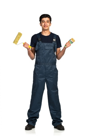 Repairman Arab nationality in the construction overalls on a white background with reflection Stock Photo - 19098820