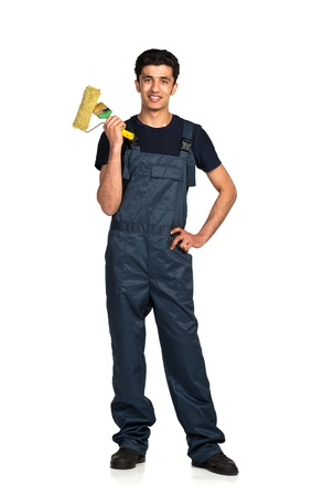 Repairman Arab nationality in the construction overalls on a white background with reflection Stock Photo - 19098819