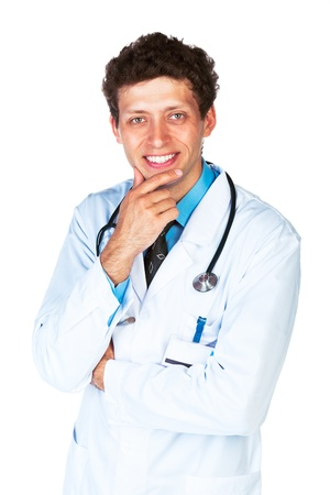 Portrait of a smiling male doctor on white background. Top view photo