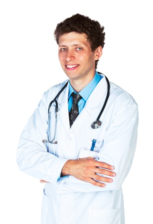 Portrait of a smiling male doctor on white background photo