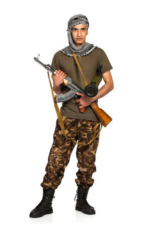 keffiyeh: Arab nationality in camouflage suit and keffiyeh with automatic gun and launcher on white background with reflection
