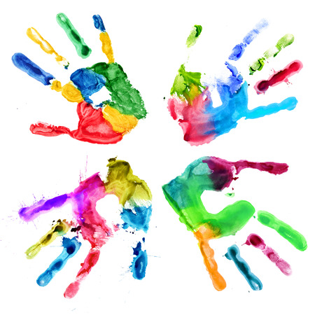 Handprints in different colors on a white background