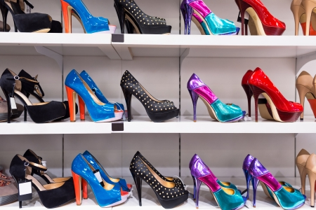 shoe shelf: Background with shoes on shelves of shop