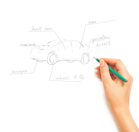 Hand drawing scheme of car on white background photo