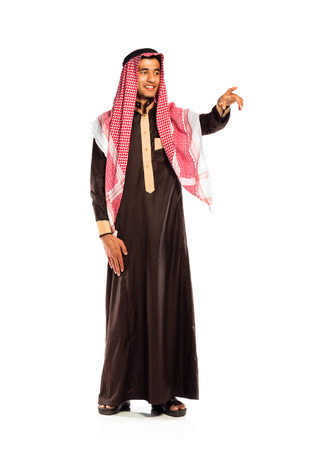 Arab man pressing virtual button on white background photo