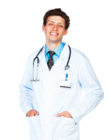 Portrait of the smiling doctor on a white  photo
