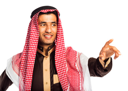 Arab man pressing virtual button on white background photo