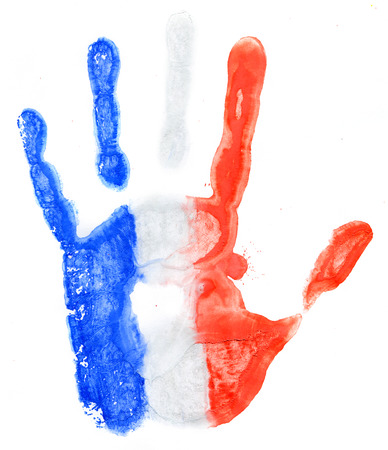 Handprint of a France flag on a white background photo