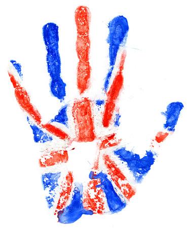 britan: Handprint of a Great Britan flag on a white background Stock Photo