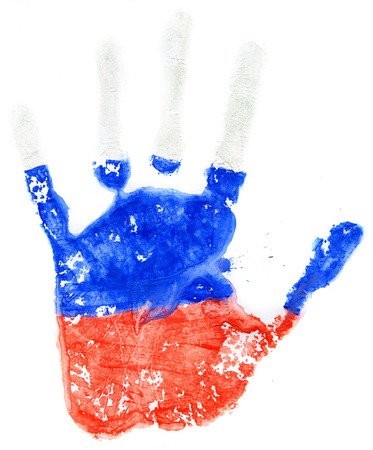 Handprint of a Russian flag on a white background photo