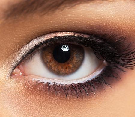cilia: Closeup of beautiful womanish eye with glamorous makeup