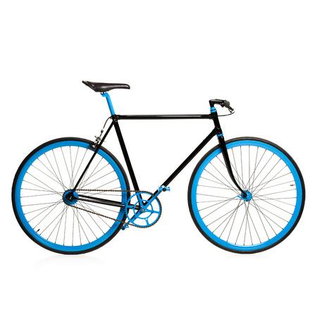 handle bars: Stylish blue bicycle isolated on white background