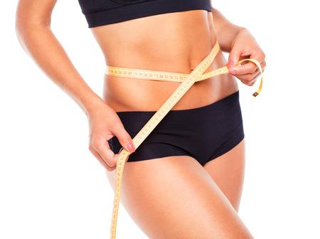 cintura perfecta: Mujer medir de forma perfecta de muslo hermoso, estilos de vida saludables concepto
