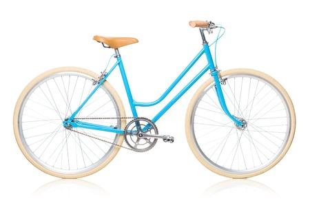 白い背景で隔離されたスタイリッシュなレディース ブルー自転車