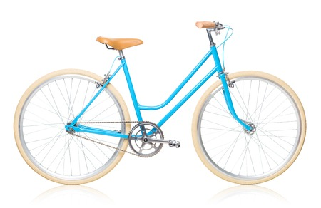 Stylish womens blue bicycle isolated on white background Stock Photo