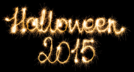 Halloween 2015 made of sparkles on black background photo