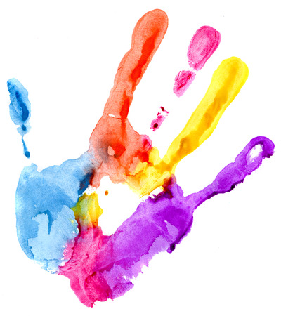 finger paint: Close up of colored hand print on white background Stock Photo