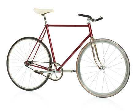 hand crank: Stylish hipster bicycle isolated on white background