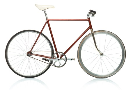 Stylish hipster bicycle - fixed gear isolated on white background Stock Photo