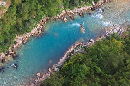 tree top view: Vue de dessus de la rivière Tara, le Monténégro, l'Europe