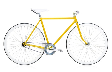 handle bars: Stylish hipster bicycle isolated on white background