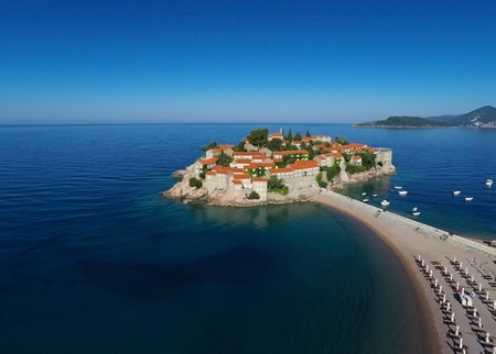 sveti: Sveti Stefan island in Budva, Montenegro, Balkans Stock Photo