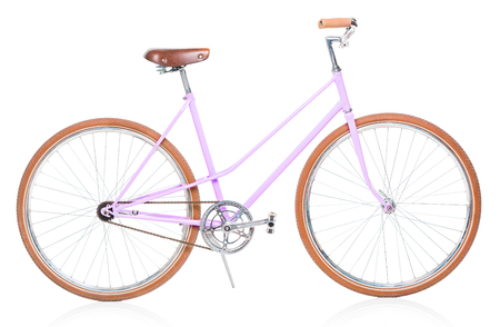 Stylish womens pink bicycle isolated on white background 免版税图像