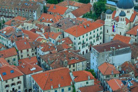 balkans: Bird eye view of buildings in Kotor old town, Montenegro, Balkans