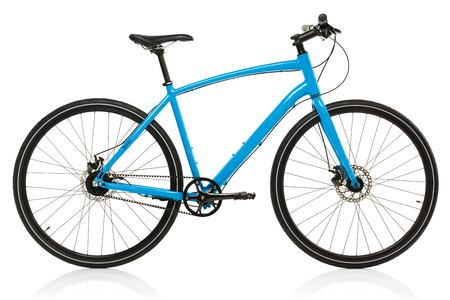 shocks: New blue bicycle isolated on a white background