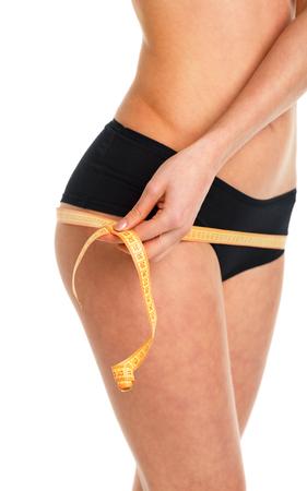 elasticidad: Mujer medir la forma perfecta de caderas hermosas, estilos de vida saludables concepto Foto de archivo