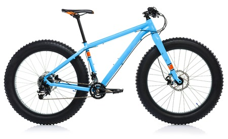 off road biking: New blue bicycle isolated on a white background