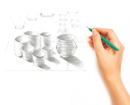cookware: La mano drena un lápiz objetos utensilios de cocina sobre un fondo blanco