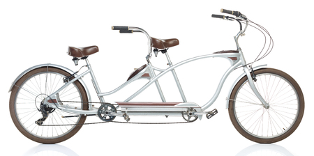 Tandem: Retro styled tandem bicycle isolated on a white background