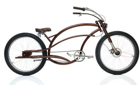 Retro styled brown bicycle isolated on a white background