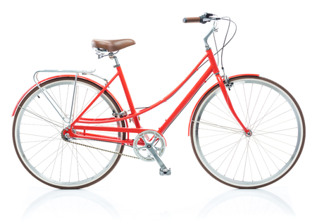hand crank: Stylish womens red bicycle isolated on white background